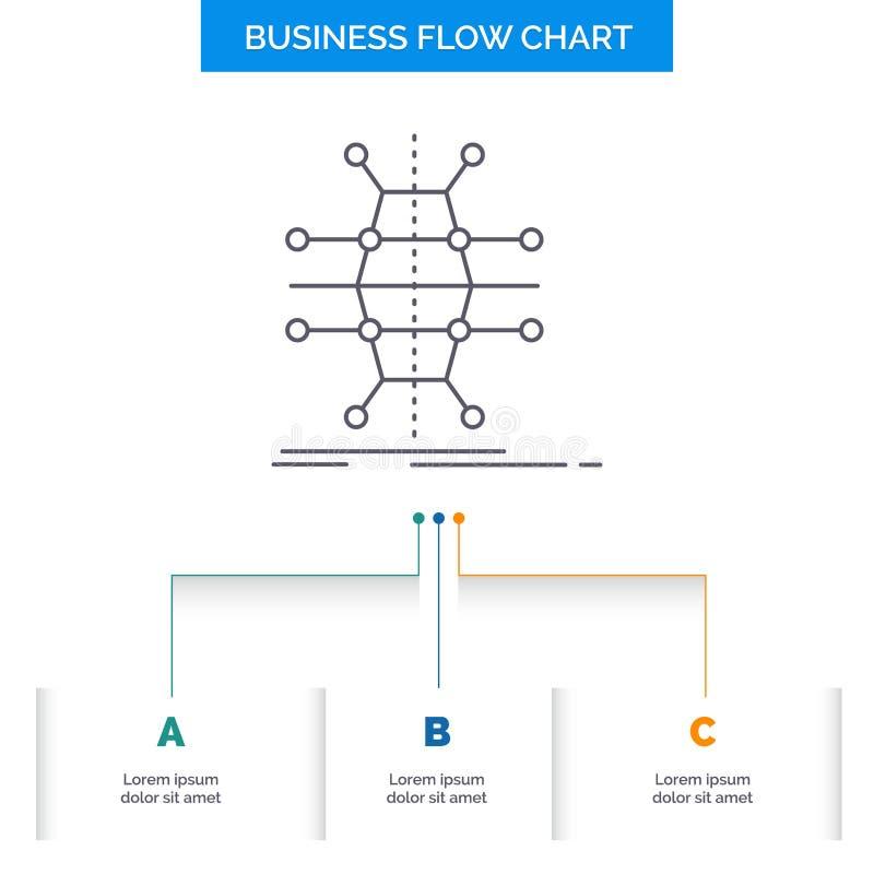 Dystrybucja, siatka, infrastruktura, sieć, mądrze Biznesowy Spływowej mapy projekt z 3 krokami Kreskowa ikona Dla prezentacji t?a ilustracji