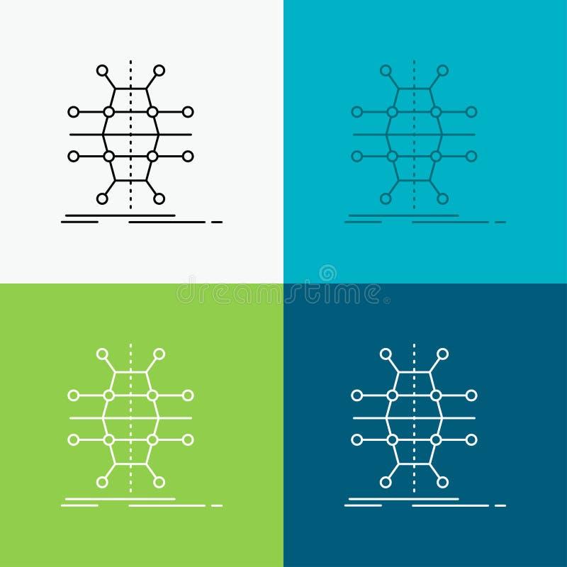 Dystrybucja, siatka, infrastruktura, sieć, mądrze ikona Nad Różnorodnym tłem Kreskowego stylu projekt, projektuj?cy dla sieci i a ilustracji