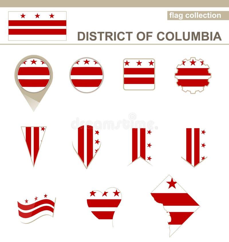 Dystrykt Kolumbii Chorągwiana kolekcja ilustracja wektor