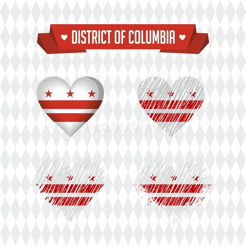 Dystrykt Kolumbii Kolekcja cztery wektorowego serca z flaga Kierowa sylwetka ilustracja wektor