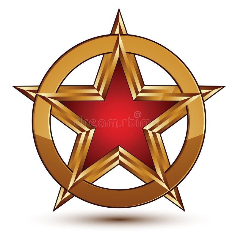 Dystyngowany wektorowy czerwieni gwiazdy emblemat z złotymi granicami, 3d pentagona ilustracji