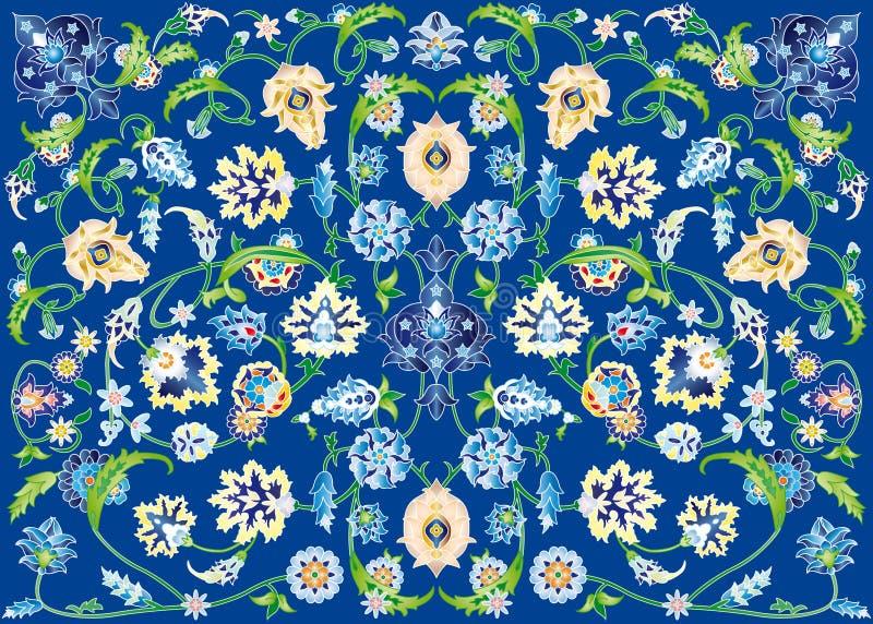 Dywan kwiaty w błękicie ilustracja wektor