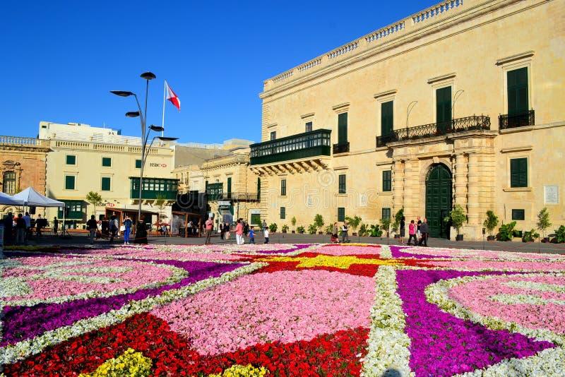 Dywan kwiaty w Valletta obraz royalty free