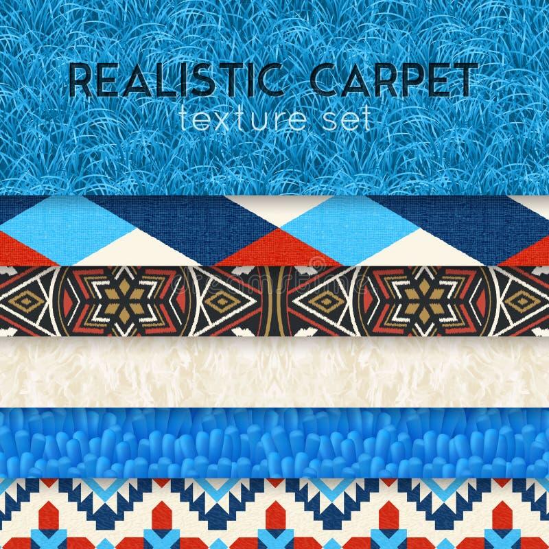 Dywanowej tekstury Realistyczny Horyzontalny set ilustracji