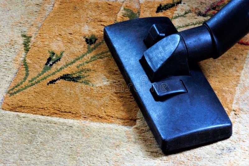 Dywanowy vacuuming, sanitarny przywrócenie czystość od śmieci Utrzymuje bezpieczną higieny czystość, usuwa brud w przemysłowym, zdjęcia stock