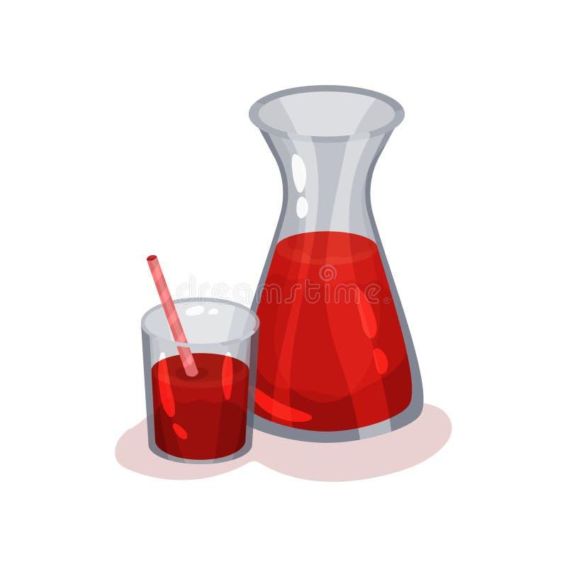 Dzbanek i szkło świeży pomidorowy sok Wyśmienicie i zdrowy napój Płaski wektorowy element dla promo sztandaru lub plakata ilustracji