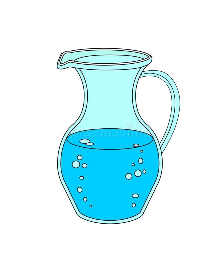 Dzbanek lub karafka z wodą na białym tle ilustracja wektor