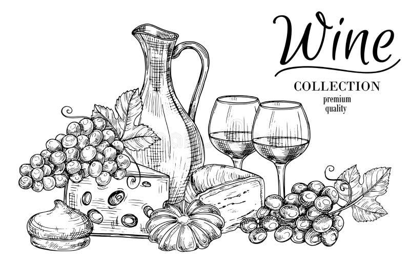 Dzbanek wino, ser, cukierki i szkła, kreślimy wektorowego tło ilustracja wektor
