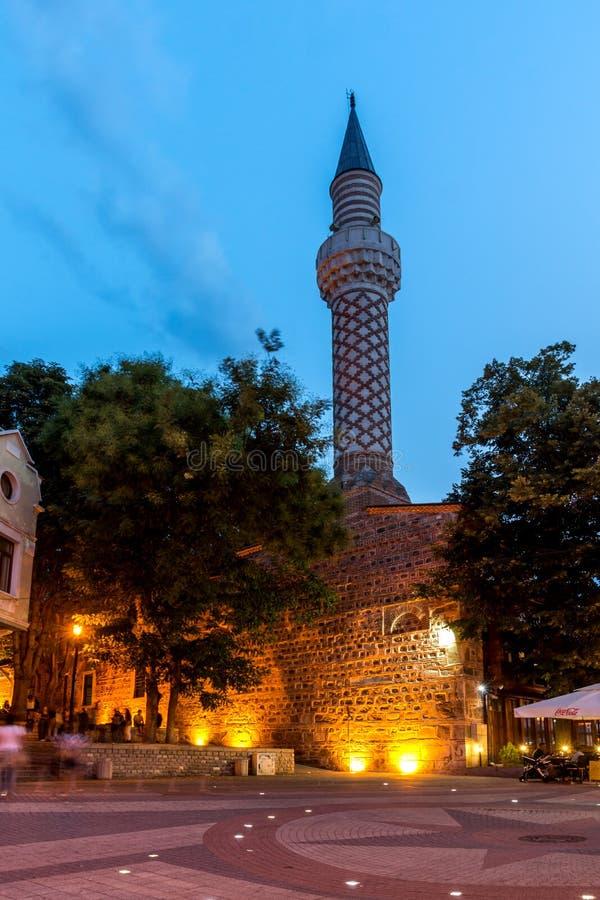 Dzhumaya清真寺惊人的夜照片在市普罗夫迪夫,保加利亚 免版税库存照片