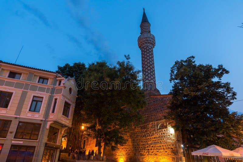 Dzhumaya清真寺惊人的夜照片在市普罗夫迪夫,保加利亚 图库摄影