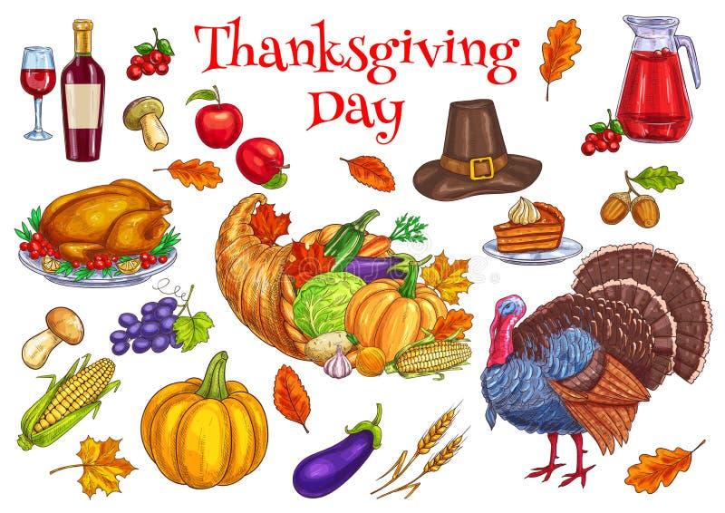 Dziękczynienia świętowania tradycyjni symbole ilustracji