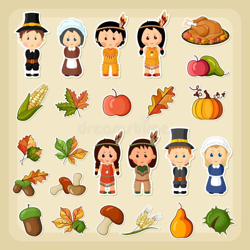 Dziękczynienia żniwa ikony set royalty ilustracja