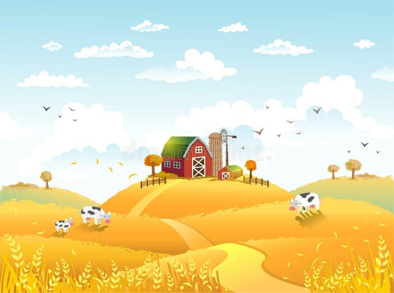Dziękczynienia autmn krajobraz z gospodarstwem rolnym royalty ilustracja