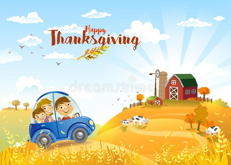Dziękczynienia autmn krajobraz z gospodarstwem rolnym ilustracja wektor