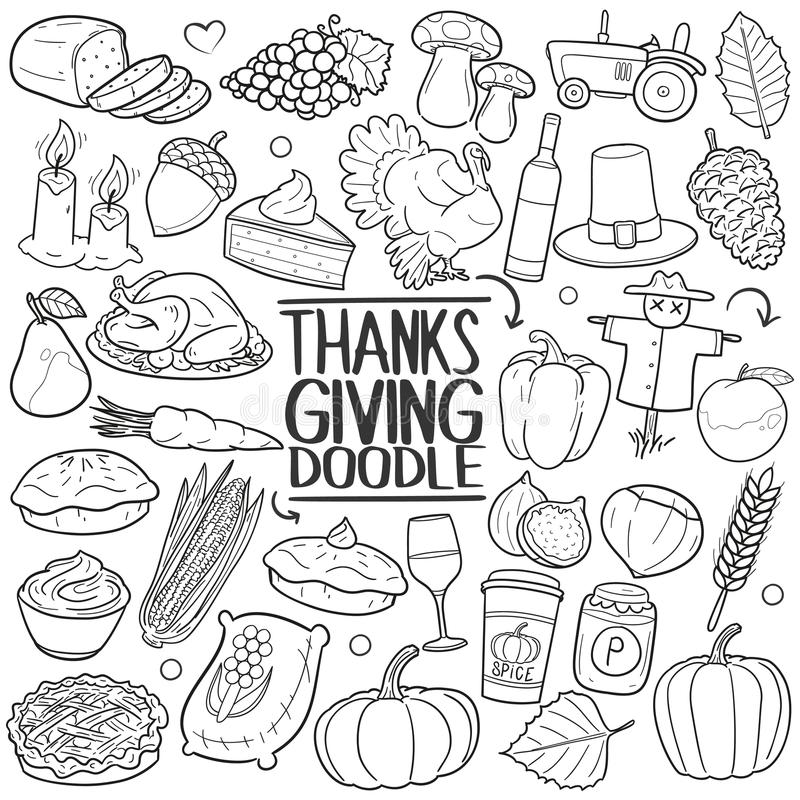 Dziękczynienia doodle ikony ręki remisu Partyjny Tradycyjny set ilustracji