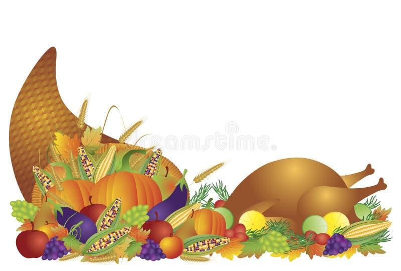 Dziękczynienia Dzień Uczty Cornucopia i Turcja royalty ilustracja