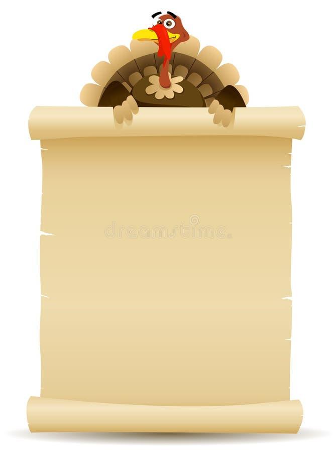 Dziękczynienia Indyczego Mienia Pergaminowy Ślimacznicy Menu royalty ilustracja