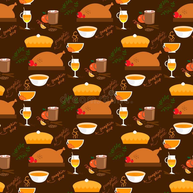 Dziękczynienia jedzenia bezszwowy wzór ilustracji