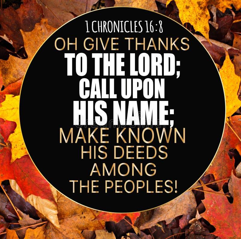 Dziękczynienia 1 kronik 16:8 obraz stock