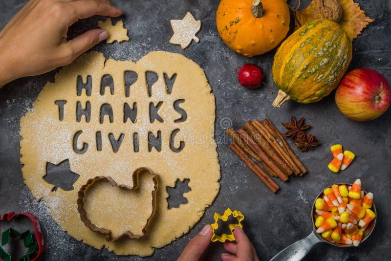 Dziękczynienia pojęcie - piec składniki i symbole zdjęcie stock