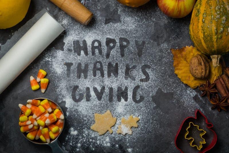 Dziękczynienia pojęcie - piec składniki i symbole obraz stock