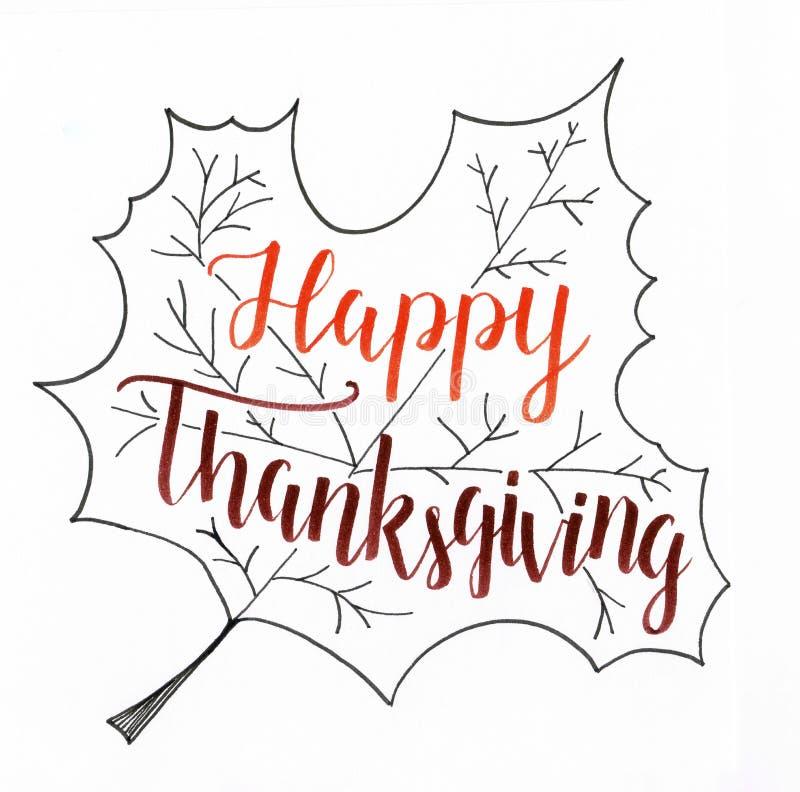 ` dziękczynienia ` ręki literowania Szczęśliwa inskrypcja w pomarańczowym i brown w liścia doodle, sezonowym dla tamto które świę ilustracji