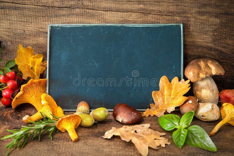 Dziękczynienia wciąż życie z pieczarkami, sezonową owoc i veget, obraz royalty free