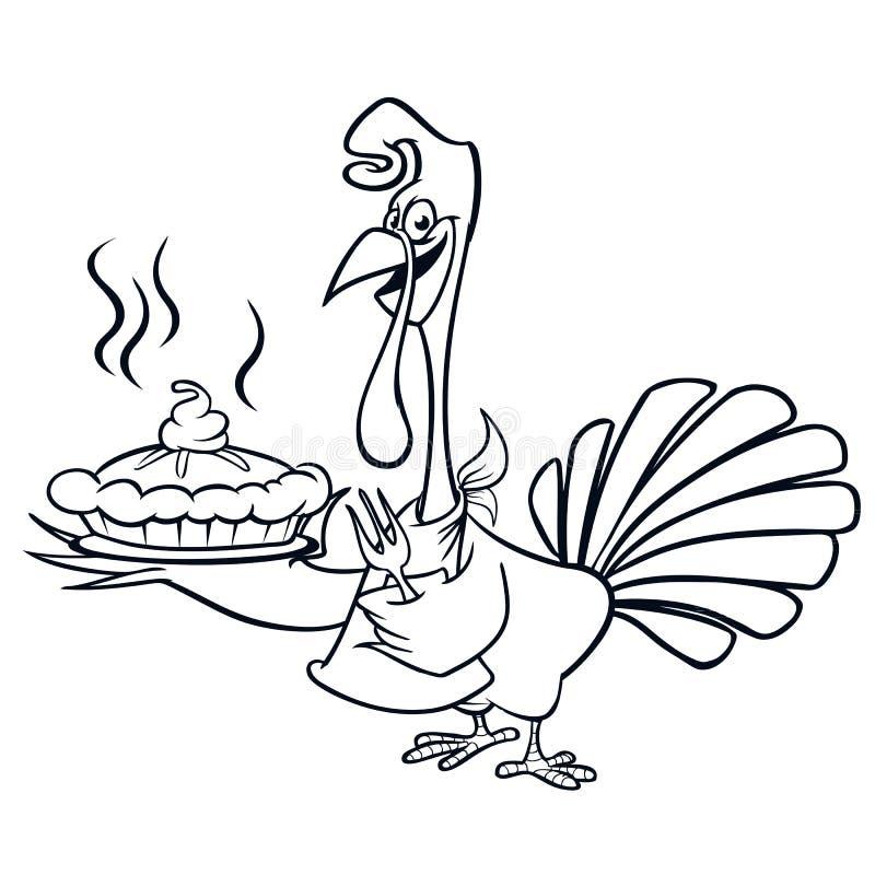 Dziękczynienie śmiesznej kreskówki kucharza słuzyć dyniowego kulebiaka konturu uderzenia indyczy szef royalty ilustracja