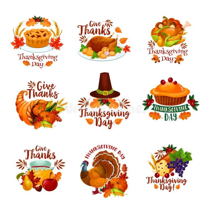 Dziękczynienie dnia jesieni wakacyjne wektorowe ikony royalty ilustracja