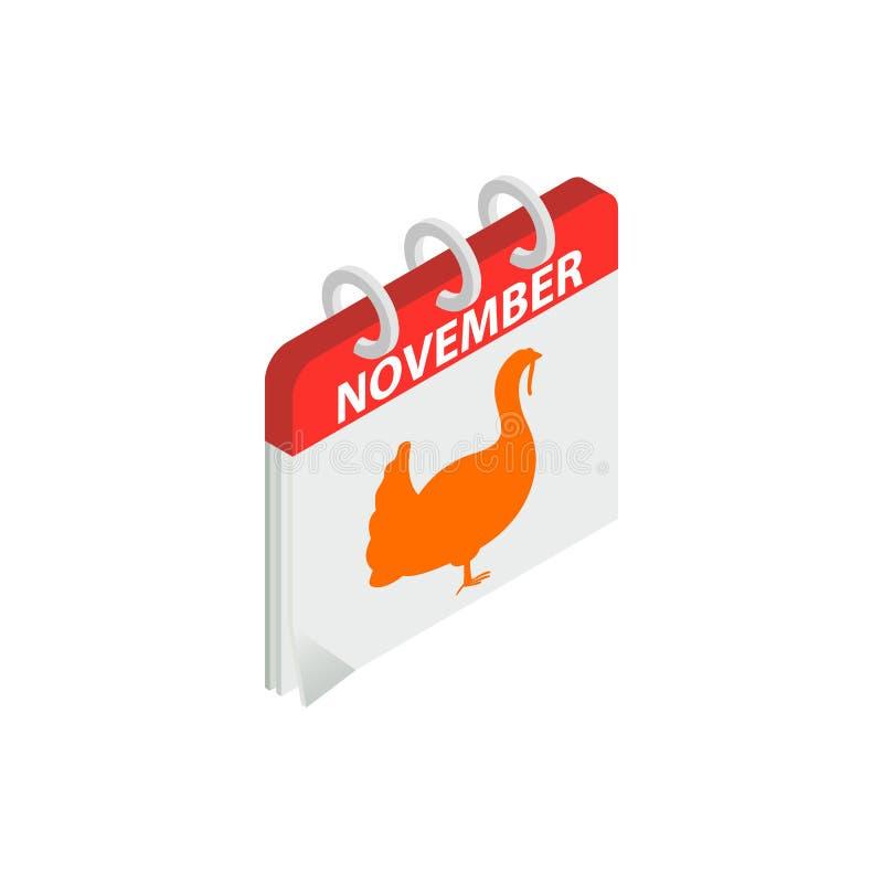 Dziękczynienie dnia kalendarzowej daty isometric 3d ikona ilustracji