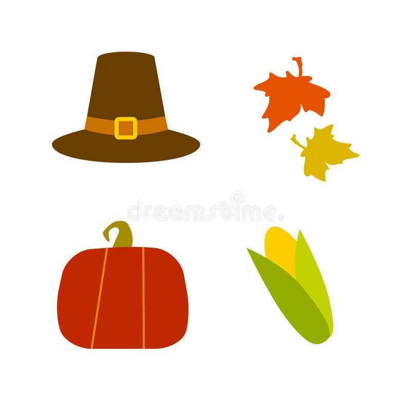 Dziękczynienie dnia kolekcja: kapelusz, liście Kukurudza i bania Klamerki sztuki wektoru ikony ilustracja wektor