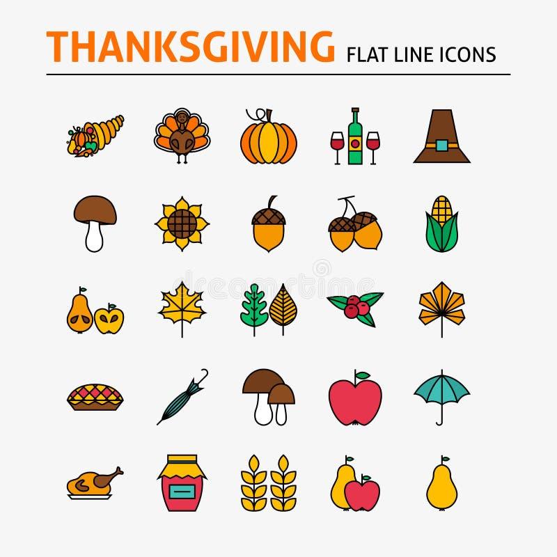 Dziękczynienie dnia mieszkania linii Kolorowe ikony Ustawiać ilustracja wektor