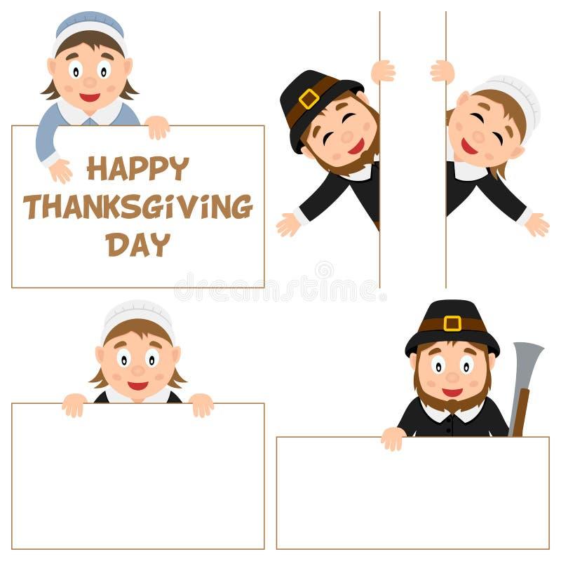 Dziękczynienie dnia pielgrzym i sztandary Ustawiający ilustracja wektor