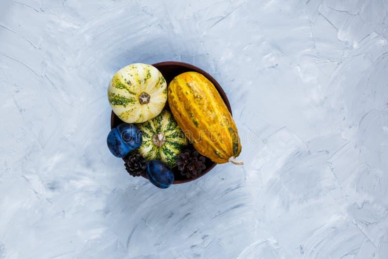 Dziękczynienie dnia skład warzywa i owoc na szarym tle Jesie? ?niwa poj?cie Banie, bonkrety, śliwki obraz stock
