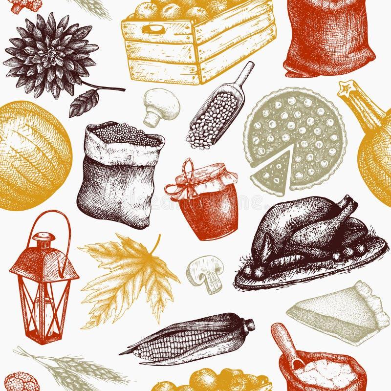 Dziękczynienie dnia tło Wektorowy bezszwowy wzór z ręki rysować tradycyjnymi karmowymi ilustracjami Rodzinni obiadowi elementy Vi ilustracji