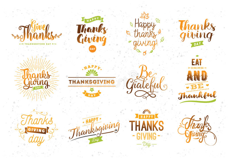 Dziękczynienie dnia typografii set ilustracja wektor