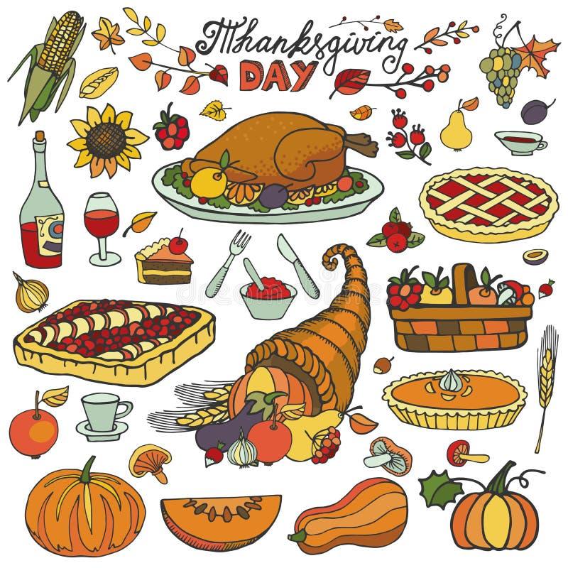 Dziękczynienie Dzień Doodle jedzenia ikony Kolorowy set royalty ilustracja
