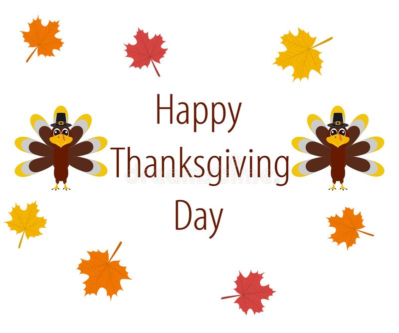 Dziękczynienie dzień, sztandar z jesień liśćmi ilustracji