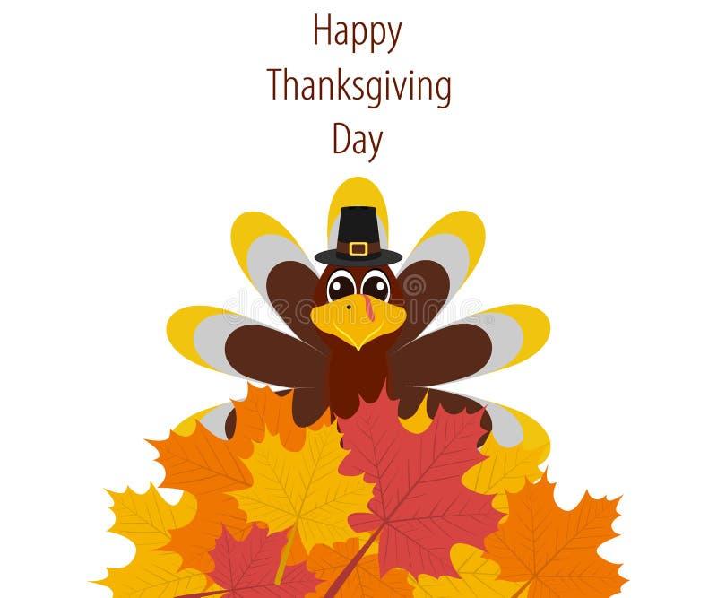 Dziękczynienie dzień, sztandar z jesień liśćmi royalty ilustracja