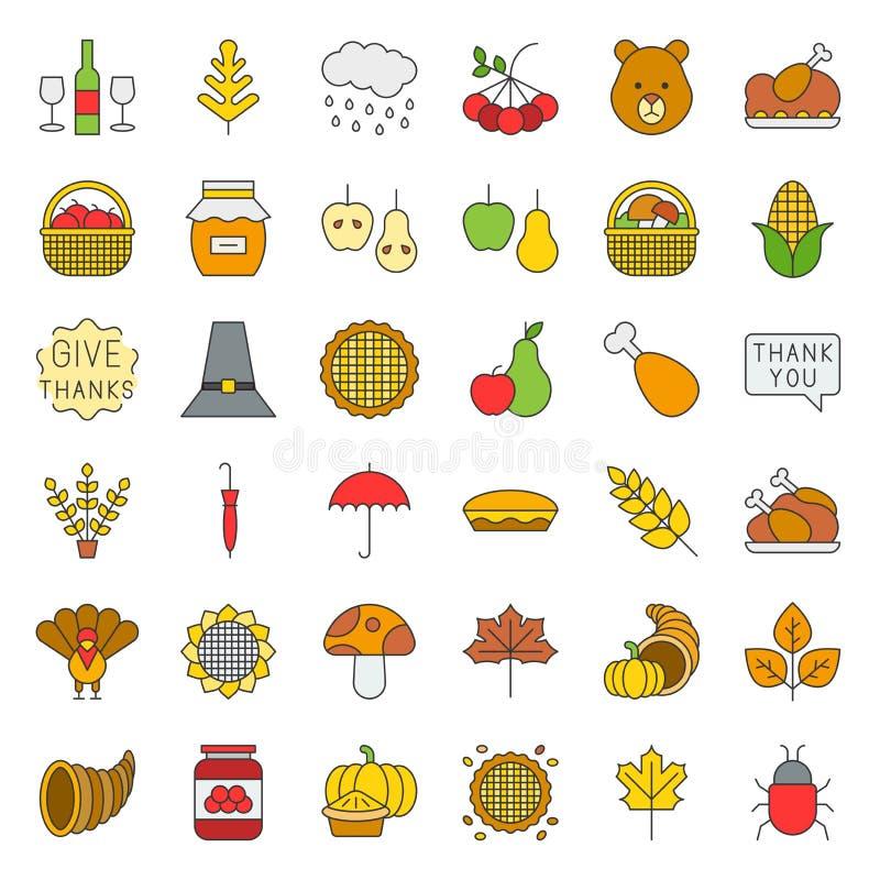 Dziękczynienie i jesień odnosić sie ikona set, editable uderzenie wypełniający kontur ilustracji