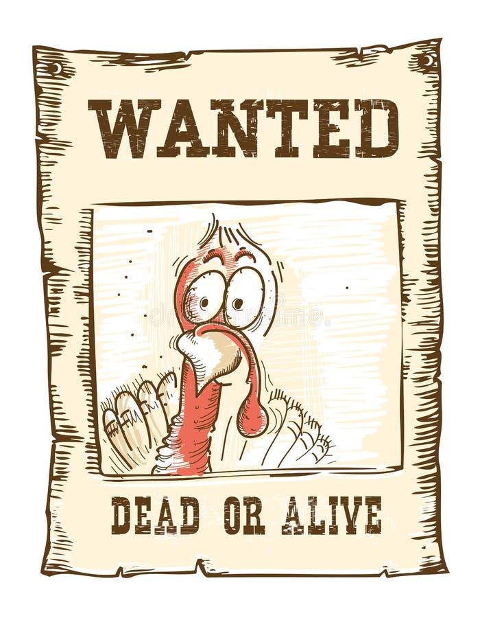 Dziękczynienie indyka ptak Chcieć śmieszna ilustracja na starym papierze ilustracji