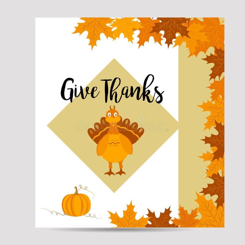 Dziękczynienie jesień, spadku tło z indykiem i bania, royalty ilustracja