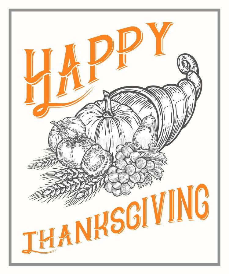 Dziękczynienie jesieni cornucopia festiwalu plakat, sztandar Monochromatyczny rocznika rytownictwo ilustracja wektor