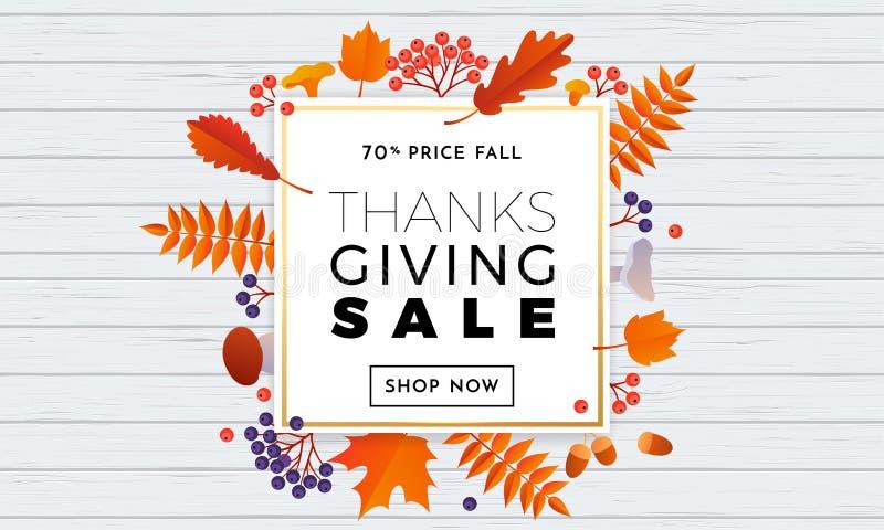 Dziękczynienie jesieni sprzedaży teksta plakat dla Września zakupy promo ilustracja wektor