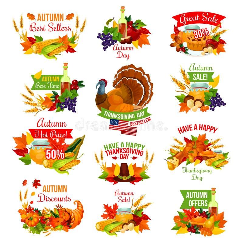 Dziękczynienie jesieni wektoru sprzedaży odosobnione ikony ilustracji