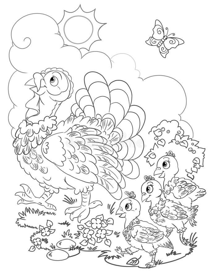 dziękczynienie kolorystyki strony projekt z szczęśliwą indyczą rodziną ilustracja wektor