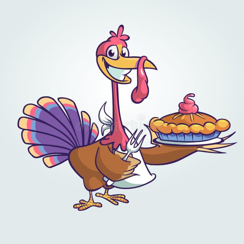 Dziękczynienie kreskówki indyka śmieszny kucharz słuzyć dyniowego kulebiaka royalty ilustracja