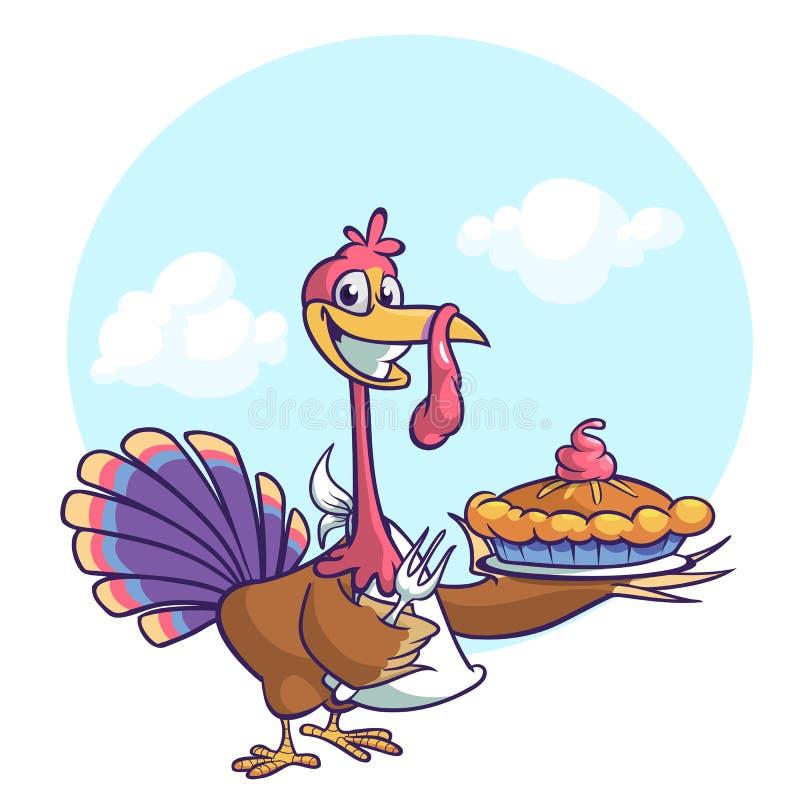 Dziękczynienie kreskówki indyka śmieszny kucharz słuzyć dyniowego kulebiaka i trzyma rozwidlenie ilustracji