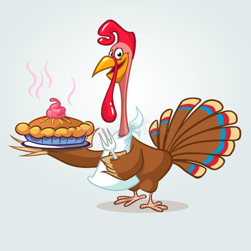 Dziękczynienie kreskówki indyka śmieszny kucharz słuzyć dyniowego kulebiaka i trzyma rozwidlenie royalty ilustracja