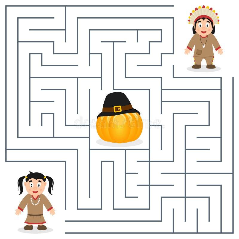 Dziękczynienie labirynt dla dzieciaków - miejscowy ilustracja wektor